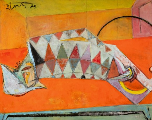 Orange Couch. Acrylic on canvas. 27 x 39 in. 2009